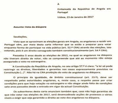 """""""Fac-símile"""" da carta enviada às Embaixadas de Angola"""