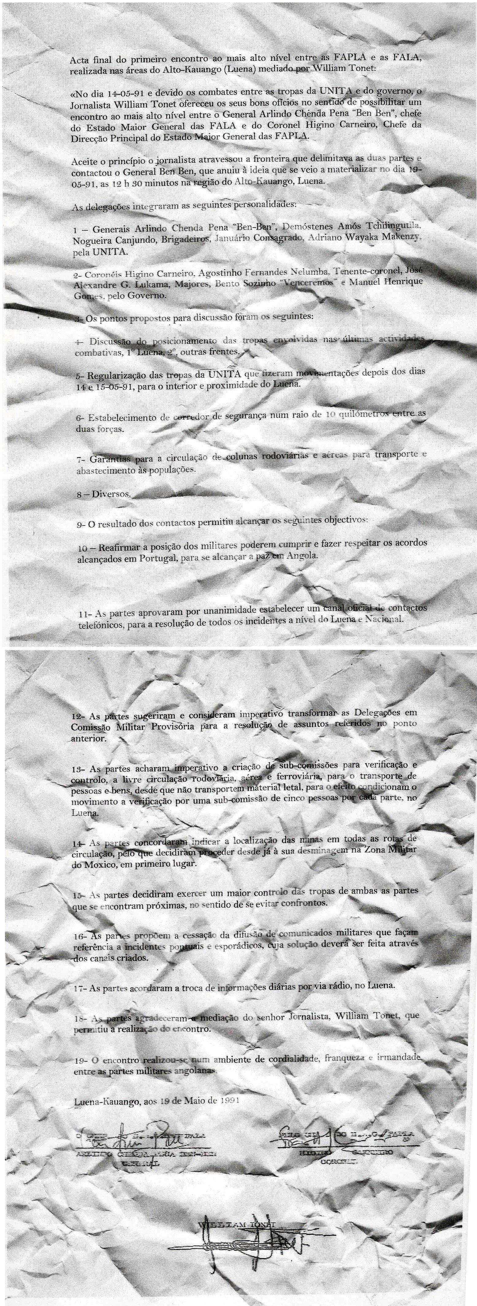 texto original do Acordo de Alto Kauango
